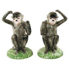 Vintage Italian Hand Painted Ceramic Monkeys Matched Pair