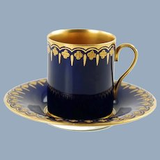 Antique Coalport Jeweled Cobalt Blue Gilt Lined Porcelain Demitasse Cup and Saucer Set