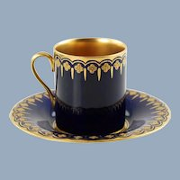 Antique Coalport Jeweled Cobalt Blue Gilt Lined Porcelain Demitasse Cup and Saucer Set