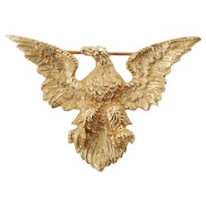 Vintage 14K Yellow Gold Eagle Brooch Pin Wefferling Berry Jewelers