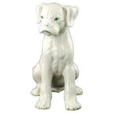Large Vintage Giovanni Ronzan Italian White Glazed Ceramic Boxer Dog Figurine with Green Accents