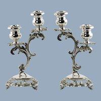 Vintage Italian Sterling Silver Rococo Candle Holders Lazzerini Argenteria Milan