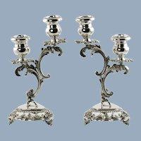 Vintage Italian Sterling Silver Rococo Candle Holders Dimensional Putti and Scrolls Lazzerini Argenteria Milan