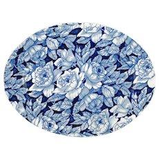 Large Vintage Blue and White English Chintz Myott Son & Co Bermuda Pattern Oval Meat Platter