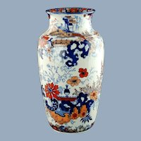 Large Antique Circa William Ridgway Polychrome Imari Vase Bangkok Shape Chinese Japan Pattern
