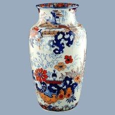 Large Antique Circa William Ridgway Polychrome Imari Vase Bangkok Shape Chinese Japan Pattern