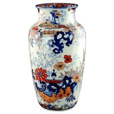 Large Antique William Ridgway Polychrome Imari Vase