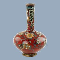 Antique 19th Century Japanese Cloisonné Vase Dragon and Phoenix Bird Motif with Flowers