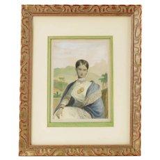 Antique William Daniell Aquatint Portrait Queen Consort Venkata Rangammal Devi of Kandy