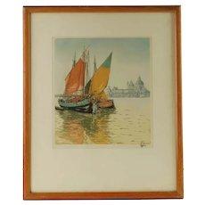 Vintage Hans Figura Aquatint Pencil Signed Numbered Chioggiotti Venice Sailboats Punta della Dogana Santa Maria della Salute