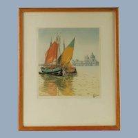 Vintage Hans Figura Aquatint Chioggiotti Sailboats Venice Punta della Dogana Santa Maria della Salute