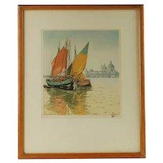 Vintage Hans Figura Aquatint Chioggiotti Venice Sailboats Punta della Dogana Santa Maria della Salute