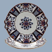 Antique English Staffordshire Gilt Imari Plates with Molded Bow Accents Thomas Allen & Spencer Green