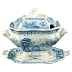 Antique Thomas Mayer Stoke Upon Trent Canova Blue and White Transferware Covered Footed Tureen