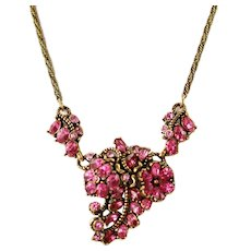 Vintage Signed Hollycraft Pink Rhinestone Necklace Copr 1953 Floral and Foliate Motif