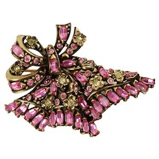Vintage Hollycraft Pink and Yellow Rhinestone Floral Ribbon Brooch Pin Copr 1950