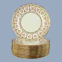"Vintage Cauldon Crown Sutherland England Hand Enameled Gilded 8.75"" Cabinet Plates with Pink Roses Set of 12"