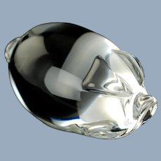 Vintage Steuben Art Glass Figural Pig Hand Cooler