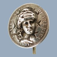 Antique Repousse Pop Out Barber Dime 900 Silver Coin Lady Liberty Stick Pin by William Malliet
