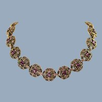 Vintage Hollycraft Purple Rhinestone Filigree Link Adjustable Length Necklace Copr 1951