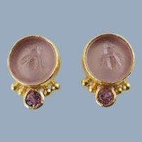 Vintage Elizabeth Locke Bee Motif Glass Intaglio 18K Gold Earrings with Pink Sapphires