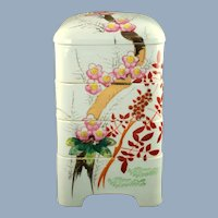 Vintage Japanese Porcelain Stacking Danju Jubako Hand Painted Tiered Nesting Container with Shogetsu Seal 松月 3 Friends Motif