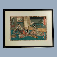 Antique Utagawa Kunisada Toyokuni III The Tale of Genji Monogatari Chapter 53 Japanese Woodblock