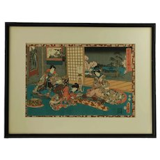 Antique Utagawa Kunisada Toyokuni III The Tale of Genji Monogatari Chapter 53 Japanese Woodblock
