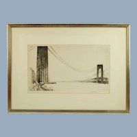 Vintage Margaret Lowengrund Pencil Signed Limited Edition Print The Bridge in Construction
