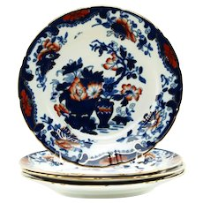 Antique Spode Imari Dessert Salad Plates Set of 4 Floral Botanical Chinoiserie Pattern 3875