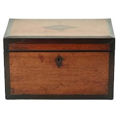 Antique English Inlaid Wood Double Compartment Tea Caddy with Key