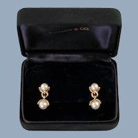 Vintage Tiffany & Co 18k Yellow Gold and Akoya Pearl Dangle Earrings in Original Velvet Presentation Box