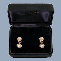 Vintage Tiffany & Co 18k Yellow Gold and Akoya Pearl Dangle Earrings
