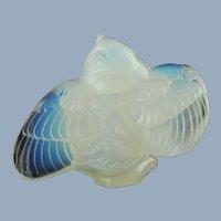 Vintage Sabino France Oiseau Moqueur Opalescent Art Glass Teasing Bird Figurine A37