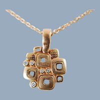 Vintage Alex Sepkus 18k Gold and Diamond Little Windows Pendant Necklace Fine Estate Jewelry