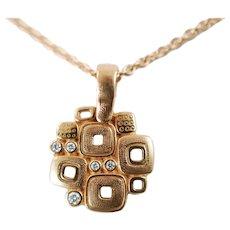 Vintage Alex Sepkus 18k Gold and Diamond Little Windows Pendant Necklace