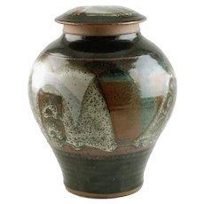 Large Vintage Robert Hasselle Pottery Hand Thrown Lidded Stoneware Jar