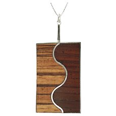 Vintage Elizabeth Missbach Haskins Sterling Silver Inlaid Wood Pendant Necklace