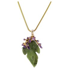 Vintage Swoboda Nephrite Jade Leaf Convertible Brooch Pendant with Amethysts and Gold Tone Necklace