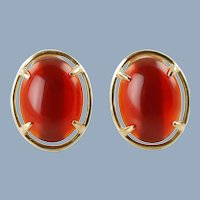 Vintage Gumps 14K Yellow Gold Carnelian Cabochon Earrings For Pierced Ears Omega Backs