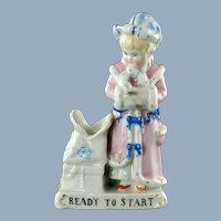 Antique Conta & Boehme Porcelain Fairing Match Strike Match Holder Figurine Ready to Start
