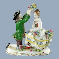 Antique Hand Painted Capodimonte Porcelain Figural Group with Applied Flowers