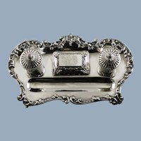 Antique Sterling Silver Dual Footed Inkstand with Lidded Compartment and Original Glass Inserts
