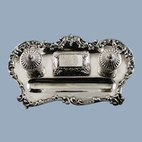 Antique Sterling Silver Dual Footed Inkstand with Original Glass Inserts