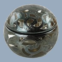 Antique Spherical Sterling Silver Overlay Glass Inkwell Paper Weight
