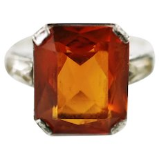 Vintage Art Deco Sterling Silver Fine Paste Topaz Ring with Clear Rhinestone Baguettes Size 5