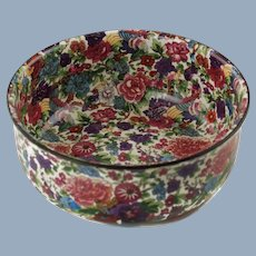 Vintage English Crown Ducal Ware Console Bowl Purple Chintz Bird of Paradise