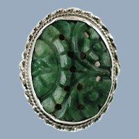 Large Vintage Carved Natural Jade Cabochon Sterling Silver Ring