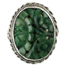 Large Vintage Carved Natural Jade Cabochon Sterling Silver Ring Size 4.75