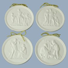Vintage Royal Copenhagen Four Seasons Parian Relief Roundels by Bertel Thorvaldsen